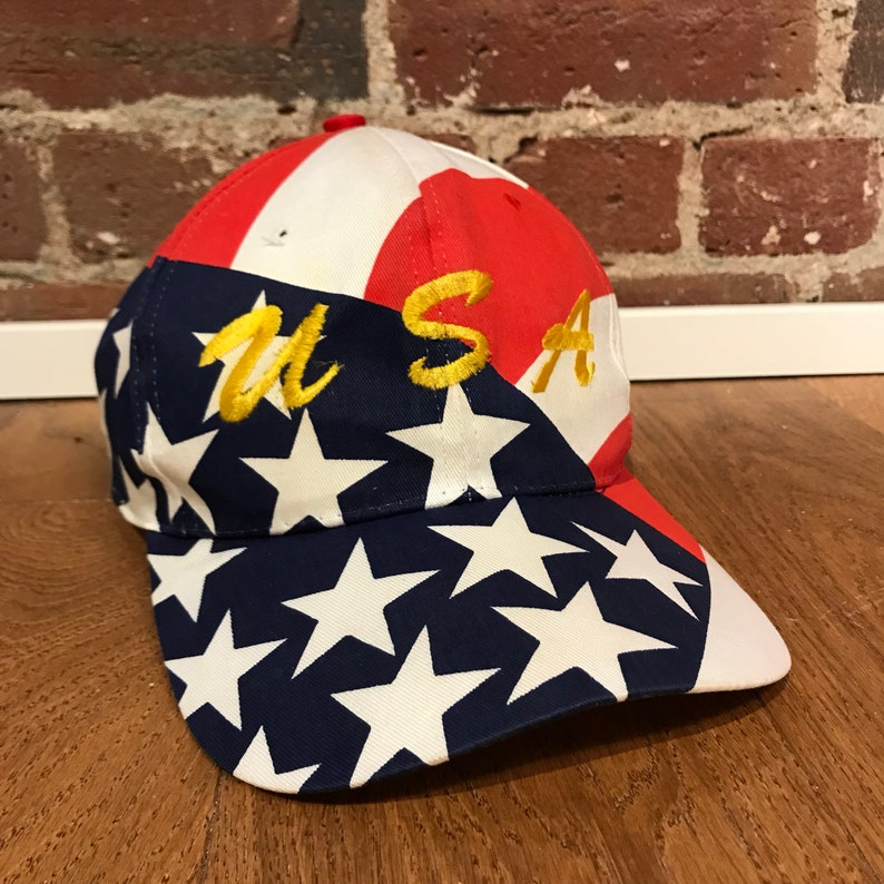 e39b30d6a38d98 Vintage Team USA Snapback Hat Adjustable United States Flag