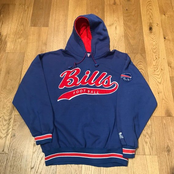 73a6fb5d Vintage Buffalo Bills Script Hoodie Sweatshirt Pullover NFL Football By  Starter Size Large