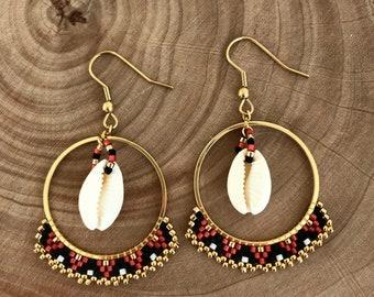 Woven red, black, gold hoop earrings with cowrie earrings