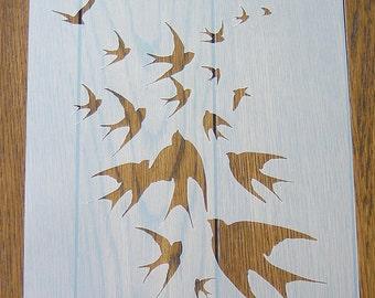 Birds in Flight Stencil Mask Reusable PP Sheet for Arts & Crafts