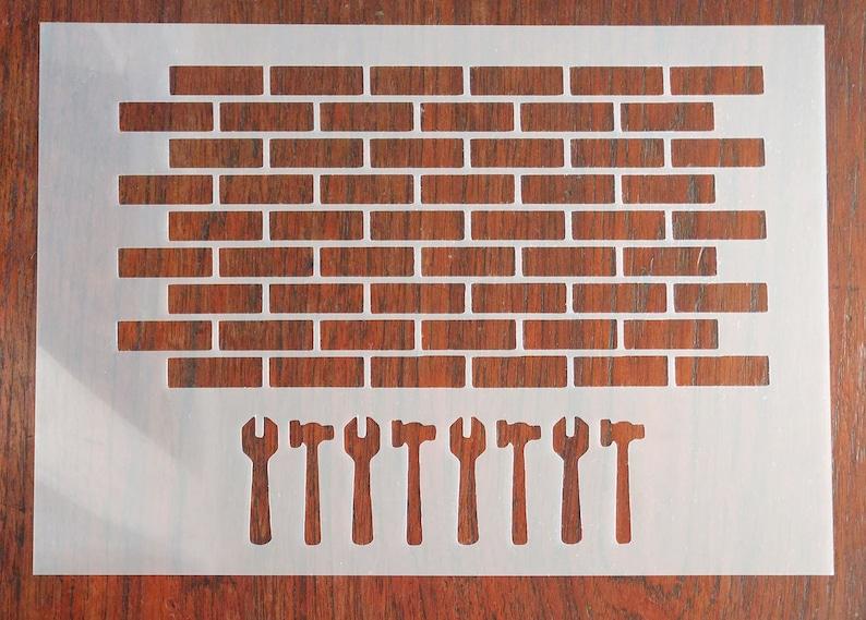 Bricks Wall Stencil Mask Reusable PP Sheet for Arts /& Crafts