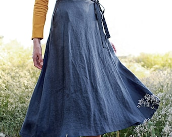 Linen wrap skirt FRIDA,  Calf length linen skirt, A line wrap skirt, Charcoal linen skirt, Long linen skirt for woman