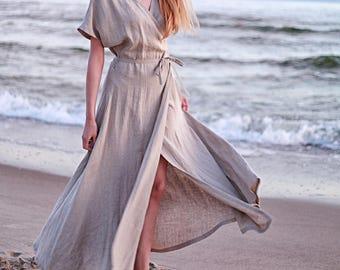 6e613f2e98 Linen Maxi Wrap Dress