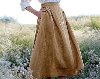 Linen skirt FLORENCE, Maxi linen skirt, Mustard linen skirt, Linen skirt with pockets, Linen maxi skirt, Ruffled back skirt