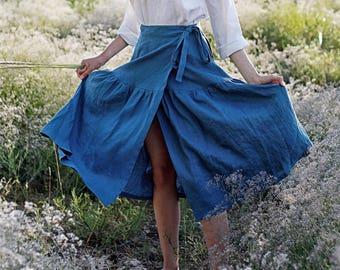 ba9fb5f16b Wrap Skirt, Custom Color, Soft Linen Skirt, Ruffled Maxi Skirt, Linen Wrap  Skirt, Long Wrap Skirt, Linen Maxi Skirt, Boho Skirt