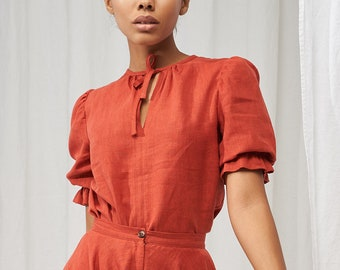 Linen puff sleeve top LUCIA, Tie neck top, Linen short sleeve blouse, Puffed sleeve linen top for woman, Vintage inspired linen top