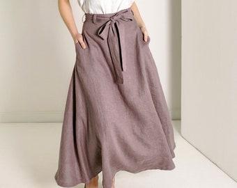 Linen Skirt with Belt 6d3e5a039cac