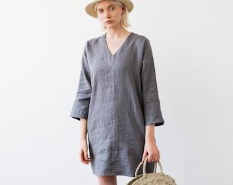 7f3671f4 Linen Tunic, Gray Linen Tunic Dress, Natural Linen Tunic, Short Linen Tunic,  V Neck Tunic Dress, Linen Sleeveless Dress