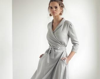 bf586518f4 Gray linen dress