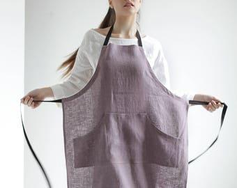 7d35ebb7aab Gray linen apron