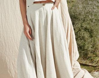 Linen full circle skirt WAVY, Calf length skirt for woman, High waisted pure linen skirt, Long linen skirt with button closure