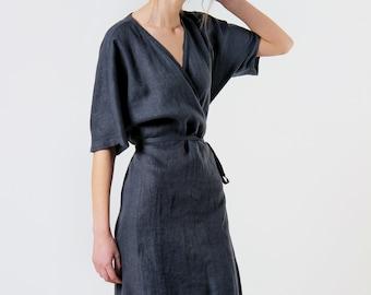 Linen wrap dress NOELLE, Linen dress in available in 27 colors, Linen kimono sleeve dress, Linen wrap dress, Short sleeve knee length dress