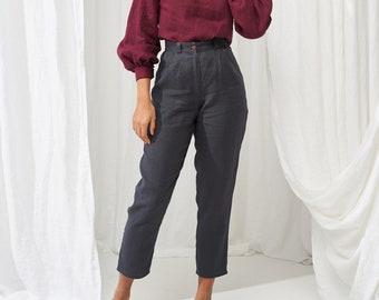 High waisted linen Pants GINGER, Tapered linen pants, Linen pants for woman,  Softened linen pants,  Slim ankle linen pants, Linen trousers