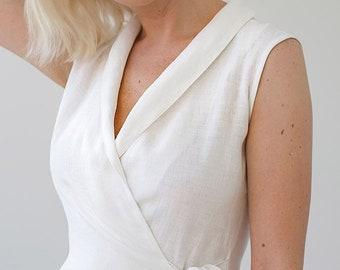 85818556067fc White Linen Wrap Dress