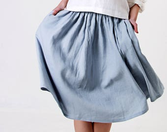 Linen Skirt,  Midi Skirt, Ruffle Skirt, Bluish Grey Linen Skirt, Ruffle  Linen Skirt with Pockets, Linen Midi Skirt, Knee Length Linen skirt