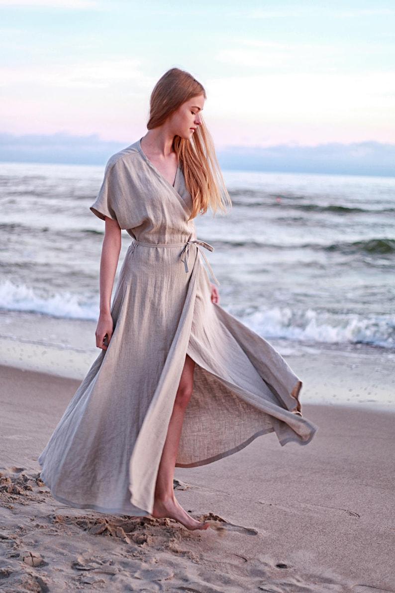 e0d1d89c7a0 Linen Maxi Wrap DressNatural Linen Dress Linen Kimono Dress