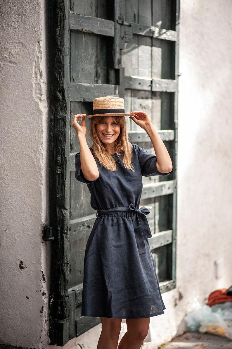 Simple linen dress Linen dress MAEVE midi Spring linen dress Linen dress with belt