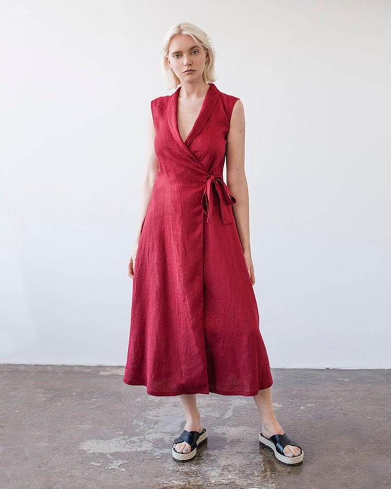 Leinen Kleid SERENA, Leinen Kleid, rote Leinen wickeln Kleid, ärmellose  Wrap Kleid, Leinen Kleid Schal Kragen Kleid, lange Leinen Kleid