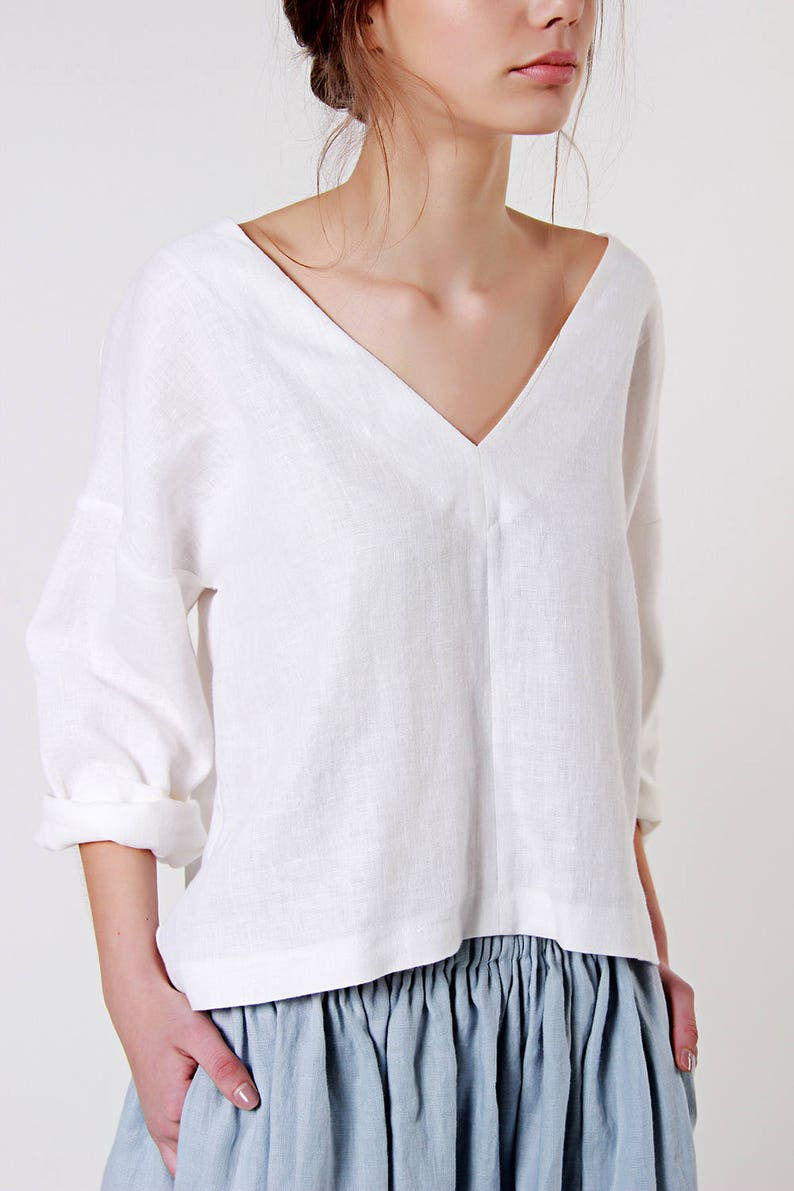 diversified in packaging hot-selling clearance limited sale Linen Blouse, V Neck Linen Top, Loose Linen Blouse Custom Color, Blouse  with deep V Neck in White Linen, Softened Linen Tee, Loose Top