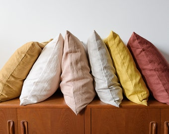 Softened linen pillow cover,  Linen pillow cases available in 27 colors , Linen throw pillow, Natural pillow case, Handmade pillow cover