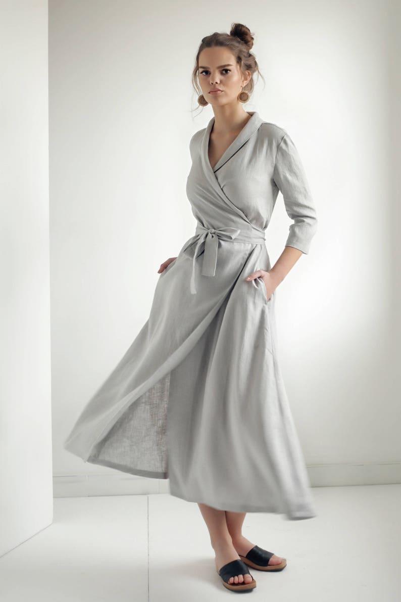 538e18920a Linen Wrap DressLinen Dress Shawl Collar Linen Dress with