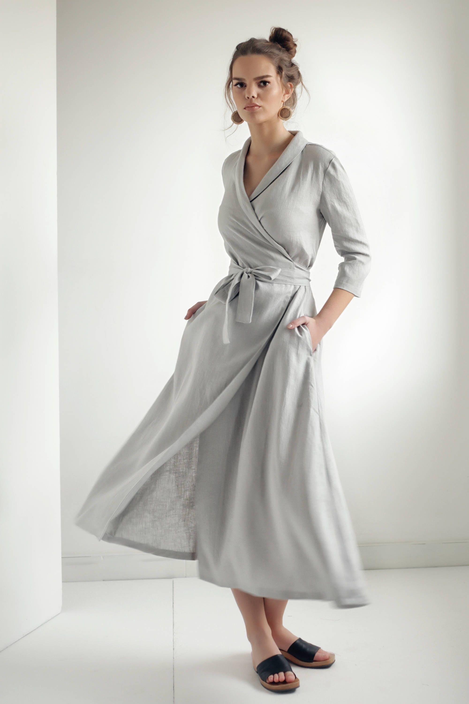 4272f71509 Linen Wrap DressLinen Dress Shawl Collar Linen Dress with
