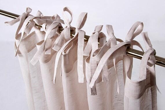 Tie Top Linen Curtain Sheer Curtain Panel Custom Linen Etsy