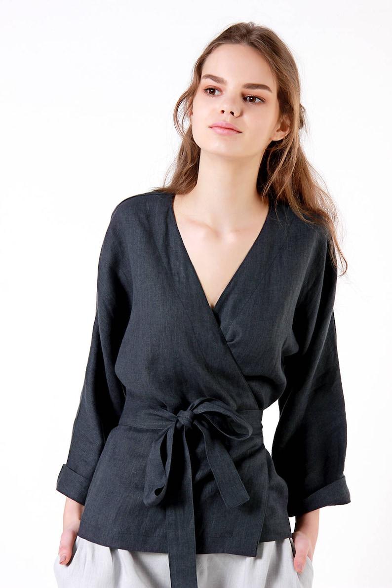 abb250fbbe Linen Blouse Charcoal Linen Wrap Top Kimono Linen Top Linen | Etsy