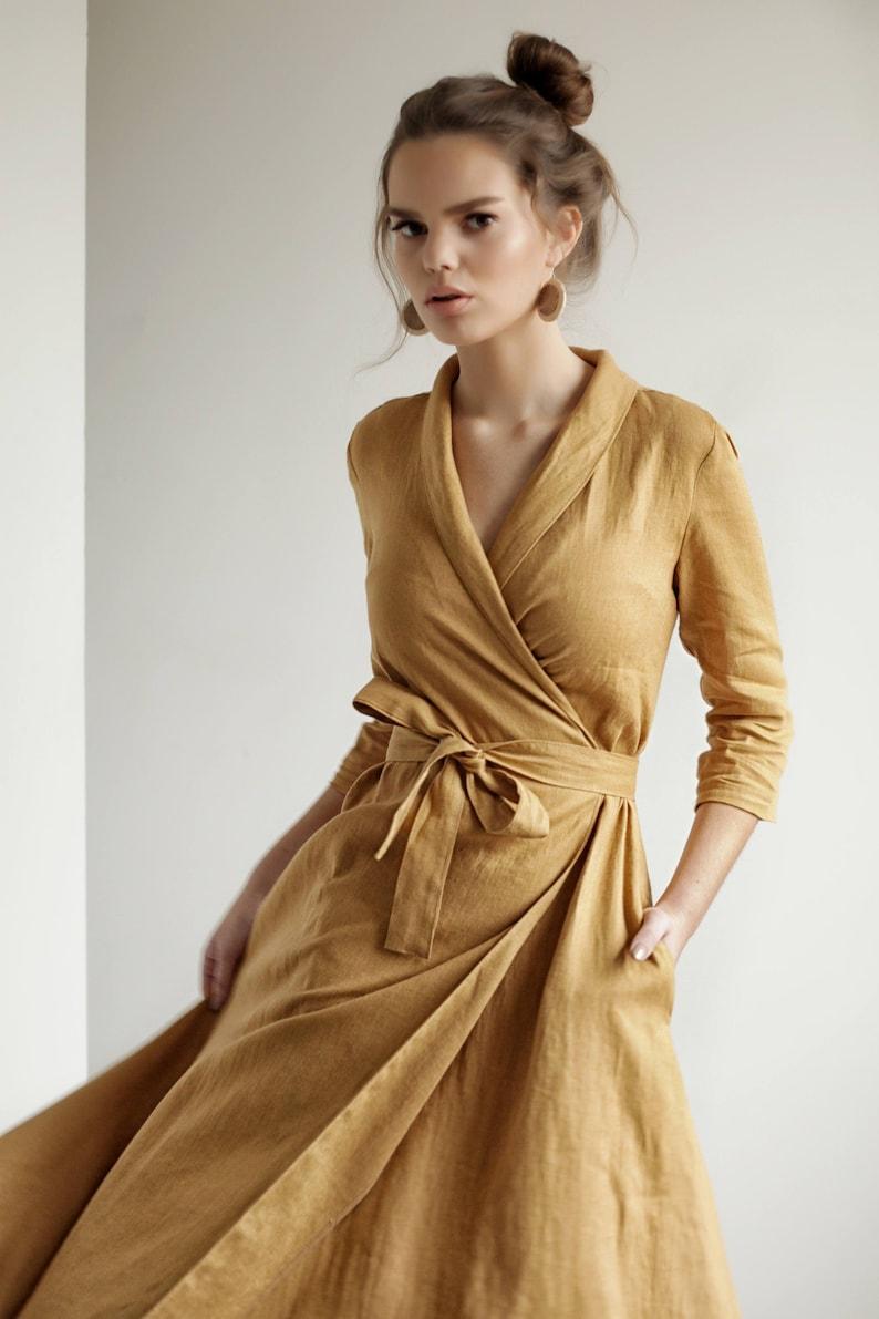 Linen dress MARLENA with Shawl Collar Wrap maxi dress Long Mustard