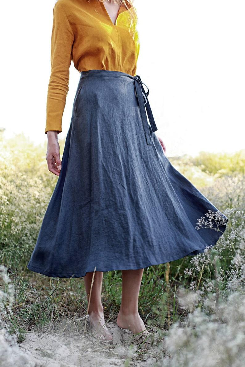 FRIDA long Linen Wrap Skirt  Maxi Linen Skirt Maxi Wrap image 0