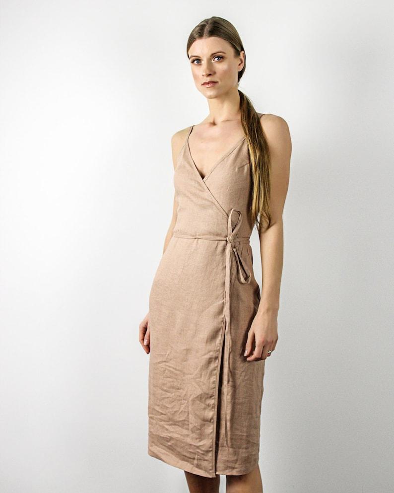 db9b20f8a6c EDEN dress Linen Spaghetti Strap Dress Linen Wrap Dress