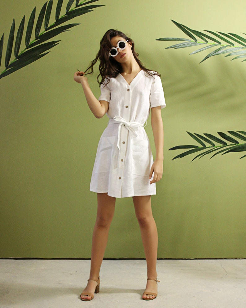 793dab3658 MAYA dress Linen Button Down Dress Linen Mini Dress Linen