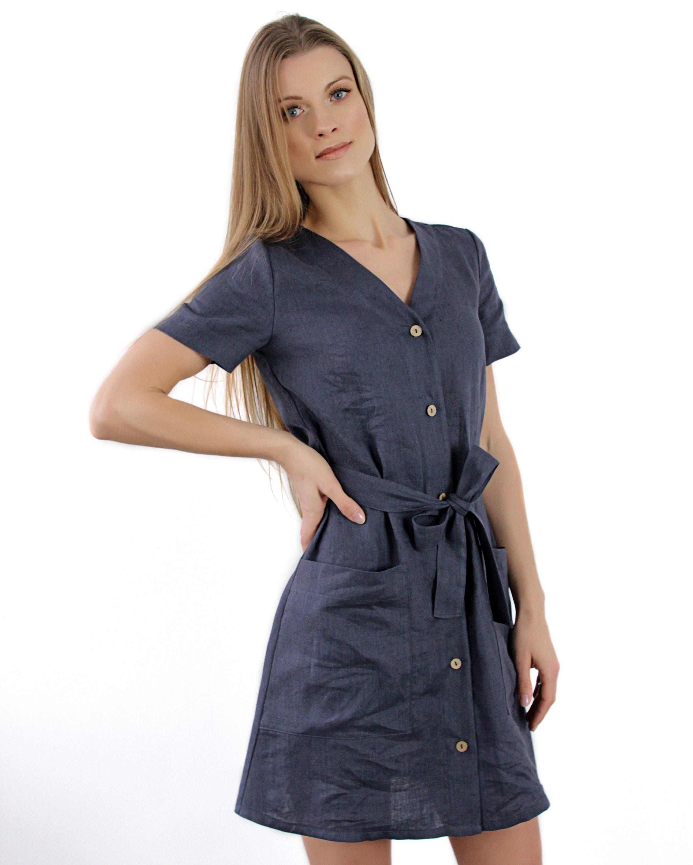 893fe41d3b0 MAYA dress Linen Button Down Dress Linen Mini Dress Linen