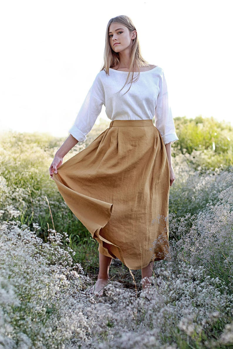 1920s Skirt History Linen skirt FLORENCE Maxi Linen Skirt Mustard Linen Skirt Linen Skirt with Pockets Linen Maxi Skirt Ruffled back Skirt $88.20 AT vintagedancer.com