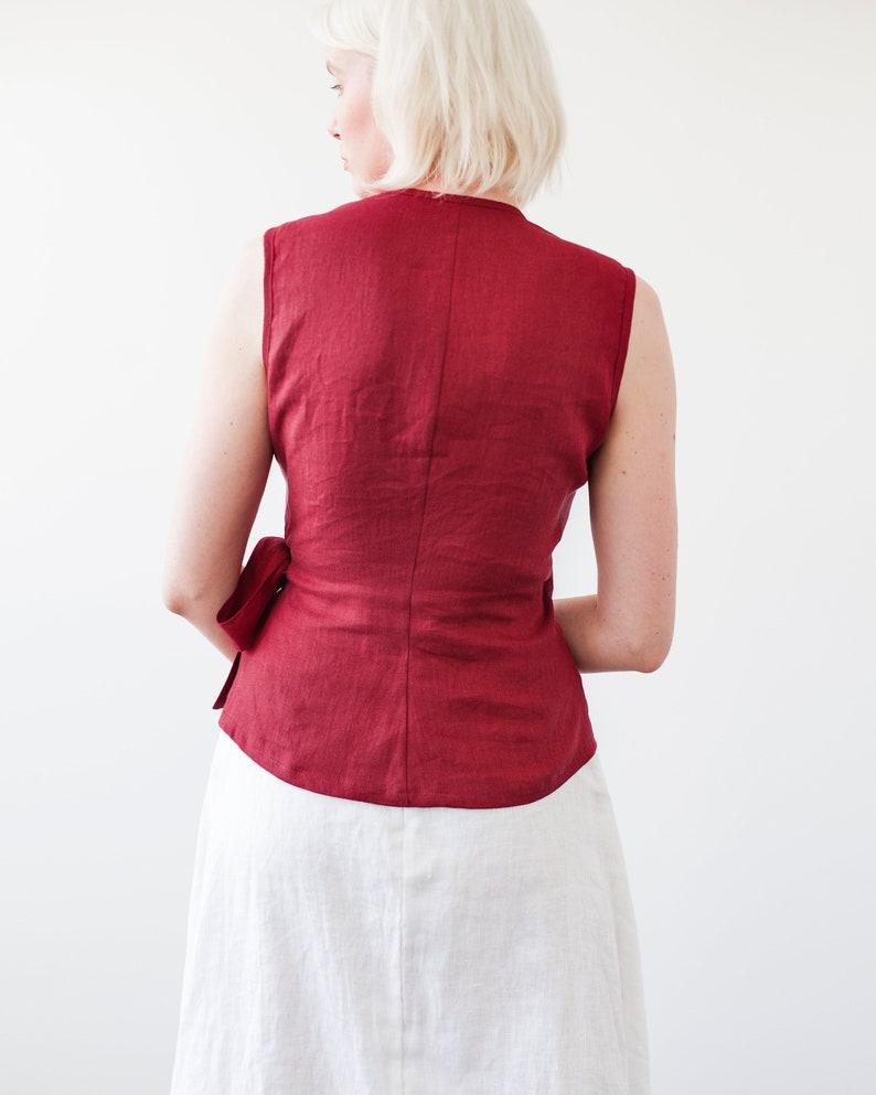 8b0b684f23 Linen Wrap Top Ruby Red Linen Top Linen Tops for Woman