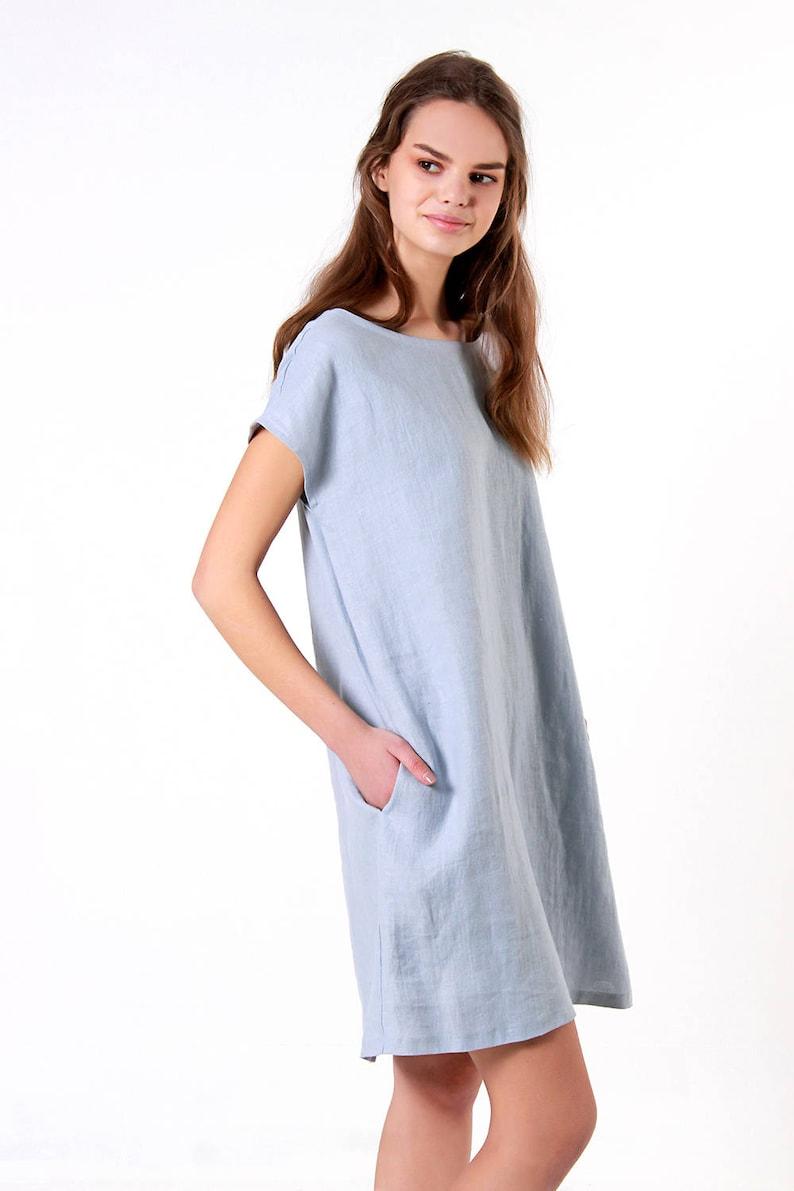 Bluish Grey Linen Dress TERESA Loose Linen Dress Linen Summer Dress Linen Dresses for woman Oversized Linen Dress Linen Tunic Dress