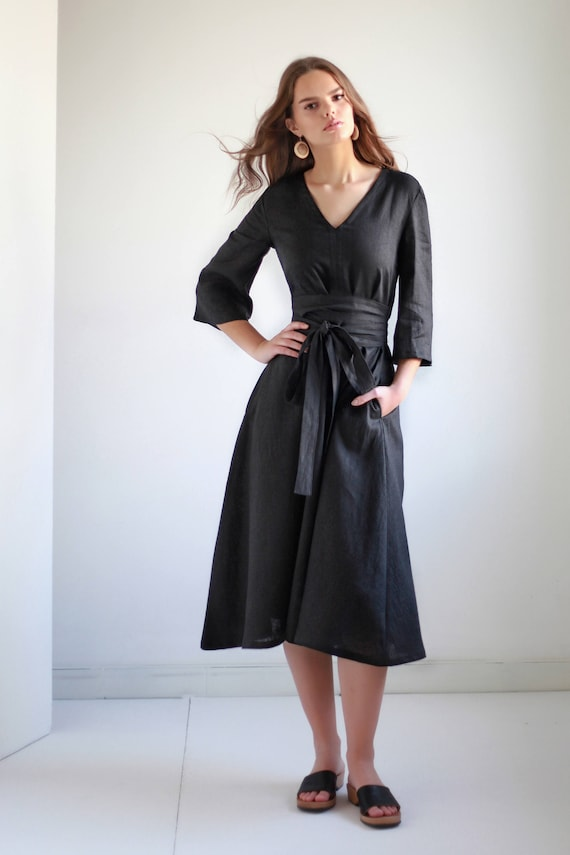 Robe en lin avec ceinture large 14 couleurs robe de lin lin   Etsy 56ea7e02a9c