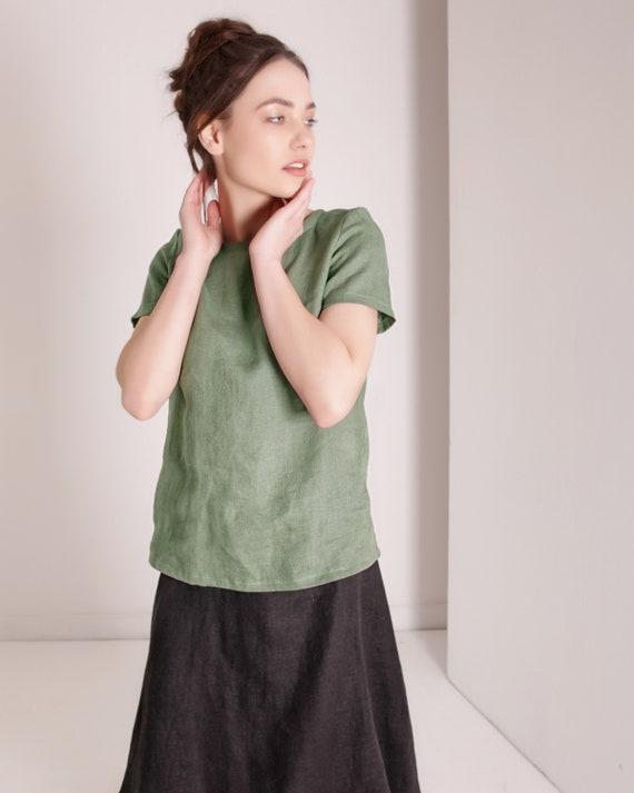 Linen Shirt Short Sleeves Linen Shirt Women Shirts for  51ee5aa61