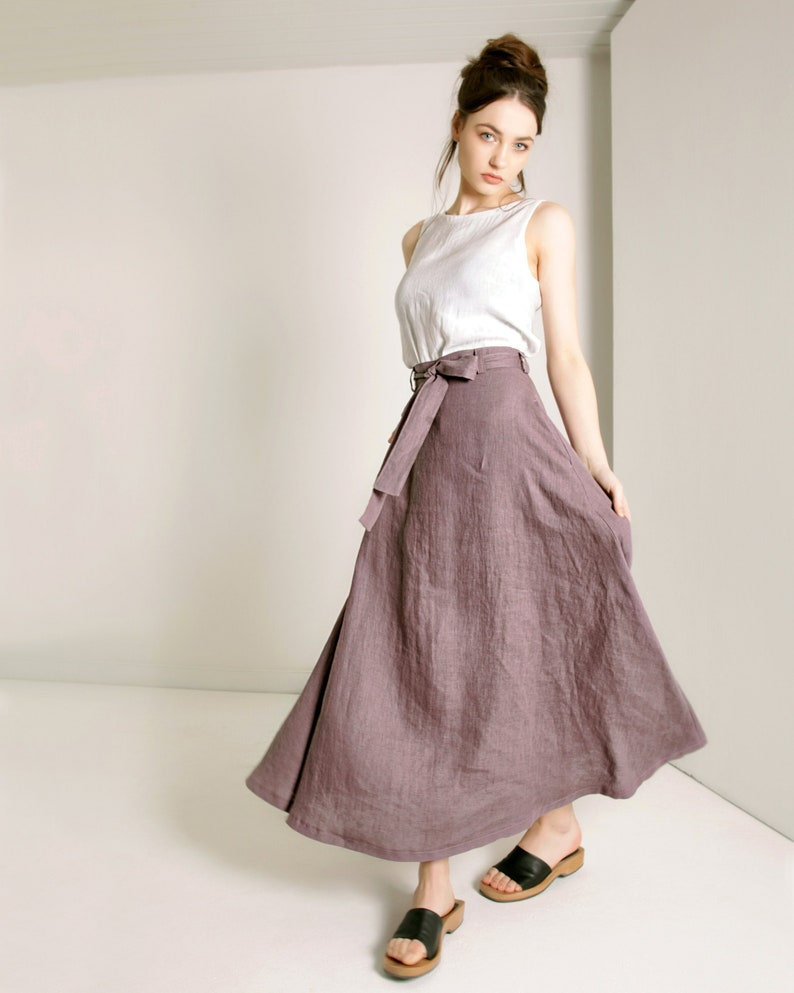 7397fe0df5 Ready to ship sizes 2 US 6 US 12 US Linen Skirt with Belt