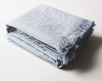 Bluish grey softened linen throw, Linen throw blanket, Light grey throw, Fringed throw blanket, Soft linen throws and blankets