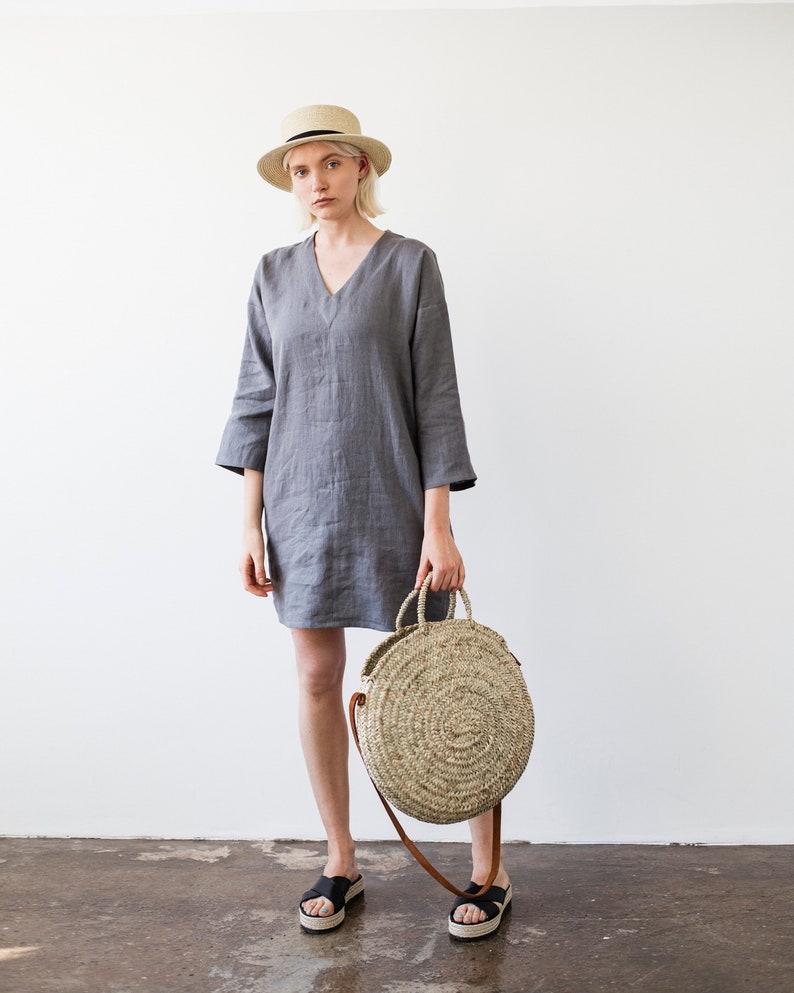 1291db5c982 Linen Tunic Gray Linen Tunic Dress Natural Linen Tunic
