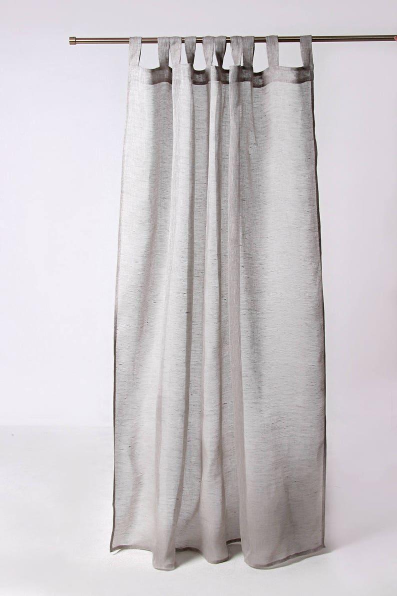 Sheer Linen Curtain Grey Curtain Panel Custom Lenght Sheer Curtain Linen Curtain Handmade Linen Window Panels
