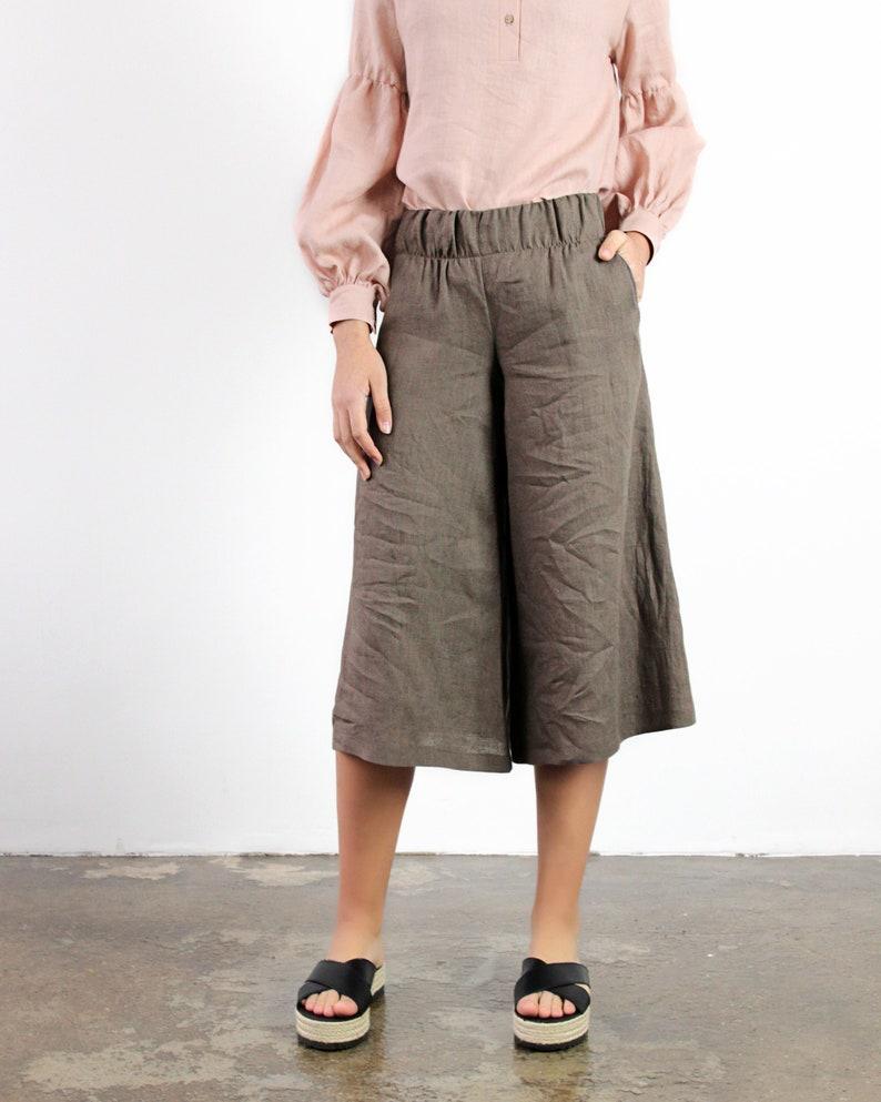 e5db4954e8bb Culotte pantaloni di lino lino pantaloni con elastico in | Etsy