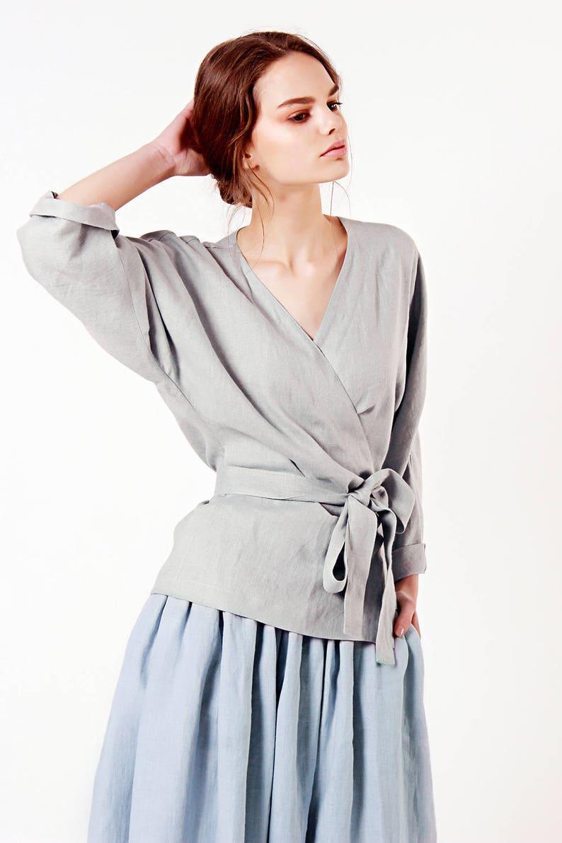 0d4a127cf8 Linen Wrap Top Grey Linen Top Linen Tops for Woman Linen