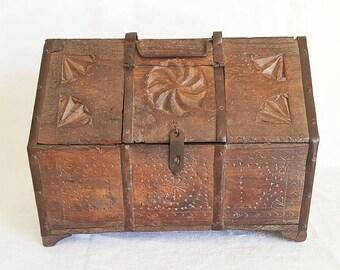 Quick View. Antique Wood Treasure Storage Lock Box Chest
