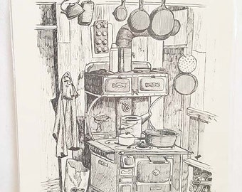 Rose Mary Goodson Old Wood Cook Stove Drawing Sketch Art Print