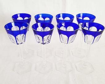 Baccarat Harcourt Rhine Wine Cobalt Blue Crystal Glasses Set Of 8