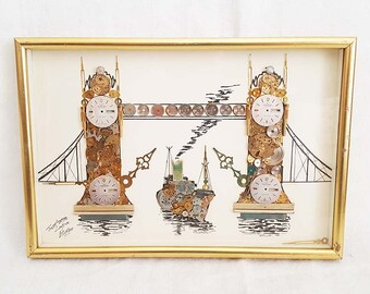Horological Collage Of Tower Bridge London By G. Burgess