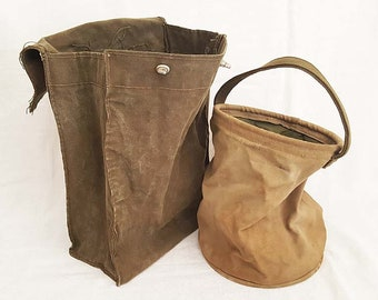 WWII Canvas Field Messenger Carry Bag Pouch & Collapsible Water Bucket Bag