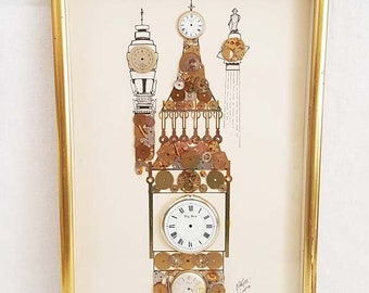 Horological Collage Of Big Ben London England By G. Burgess